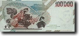 100000 Italiaanse lire-biljet