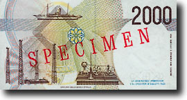 2000 Italiaanse lire-biljet