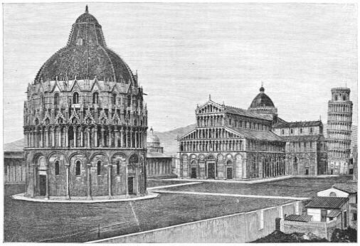 Het Domplein te Pisa.